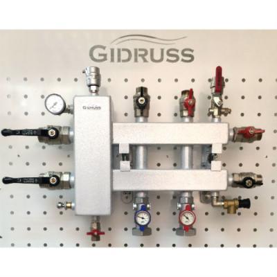 Коллектор отопления с гидрострелкой Gidruss BM-100-3DU (100 кВт, 3 контура вход G 1 1/4'' НР, выход 1'' НР Межосевое расстояние 125 мм)