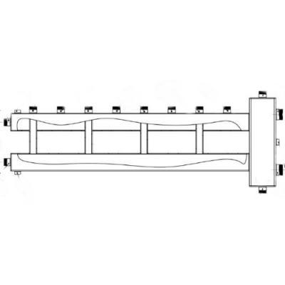 """Коллектор отопления с гидрострелкой Gidruss BM-150-5U (150 кВт, 5 контуров, вход G 1 1/2"""" НР, выход 1"""" НР Межосевое расстояние 125 мм)"""