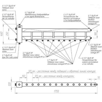 Коллектор отопления с гидрострелкой Gidruss BM-150-7D (150 кВт, 7 контуров G 1'' НР, Вход G 1 1/2'' НР Межосевое расстояние 125 мм)
