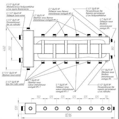 Коллектор отопления с гидрострелкой Gidruss BM-150-7DU (150 кВт, 7 контуров G 1'' НР, Вход G 1 1/2'' НР Межосевое расстояние 125 мм)