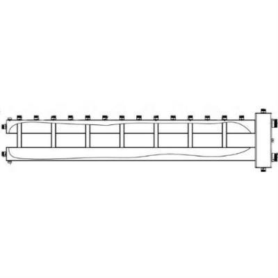 """Коллектор отопления с гидрострелкой Gidruss BM-250-8U (250 кВт, 8 контуров, вход G 2"""" НР, выход 1'' НР Межосевое расстояние 125 мм)"""