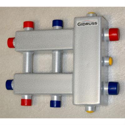 """Коллектор с гидрострелкой Gidruss """"компакт"""" BMK-60-3DU (60 кВт, 3 контура: 1 вниз, 1 вверх, 1 в сторону 3/4"""", вход G 1'', Межосевое расстояние 90 мм)"""