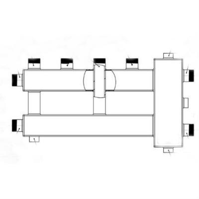 """Коллектор с гидрострелкой Gidruss """"компакт"""" BMK-60-3U (60 кВт, 3 контура 3/4"""", G 1'' , Межосевое расстояние 90 мм)"""