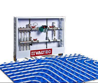 """Коллектор теплого пола Valtec из нержавеющей стали в сборе со встроенными расходомерами, 1""""х 6 вых. (3/4"""")"""