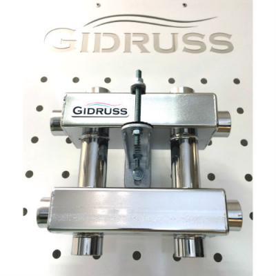 Модульный коллектор отопления Gidruss MKSS-60-3DU (для гидрострелок GRSS-60-25, GRSS-100-32, 3 выхода G 1'')