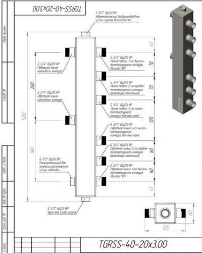 Гидрострелка (Термо-гидравлический разделитель) Gidruss TGRSS-40-20х3 (до 40 кВт, 3 контура G ?'') из нержавеющей стали