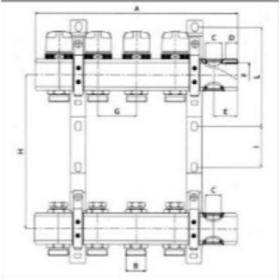 """Коллектор теплого пола Valtec 1"""" 4x3/4"""" из латуни с балансировочными и термостатическими клапанами"""