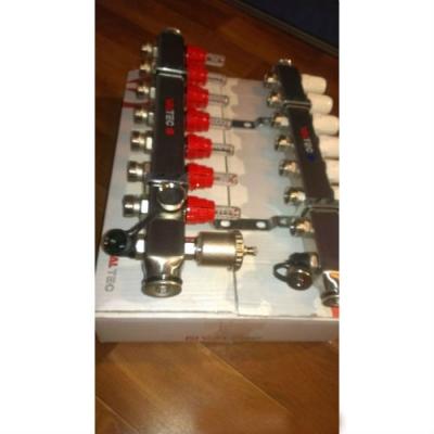"""Коллектор теплого пола Valtec 1"""" 9x3/4"""" из латуни с термостатическими клапанами и расходомерами"""