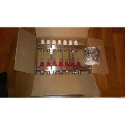 """Коллектор теплого пола Valtec 1"""" 6x3/4"""" из латуни с термостатическими клапанами и расходомерами"""