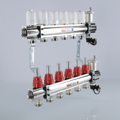 """Коллектор теплого пола Valtec 1 1/4"""", 6x3/4"""" из латуни с термостатическими клапанами и расходомерами"""