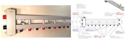 Коллектор отопления с гидрострелкой Gidruss BM-100-5D (100 кВт, 5 контуров вверх G 1'' НР, вход G 1 1/4'' НР Межосевое расстояние 125 мм)