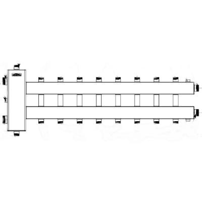 """Коллектор отопления с гидрострелкой Gidruss BM-250-9DU (250 кВт, 9 контуров G 1"""", вход G 2"""" НР, Межосевое расстояние 125 мм)"""