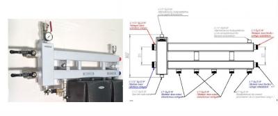 Коллектор отопления с гидрострелкой Gidruss BM-60-3D (60 кВт, 3 контура G 1'' НР, ВХОД G 1 1/4'' НР Межосевое расстояние 125 мм)