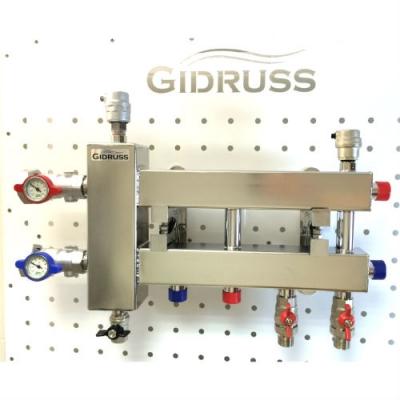 """Коллектор с гидрострелкой """"компакт"""" GidrussBMKSS-60-3D из нержавеющей стали (60 кВт, G 1'' НР, 3 контура: 2 вниз, 1 в сторону 3/4'' НР, G 1'' НР Межосевое расст 90 мм)"""