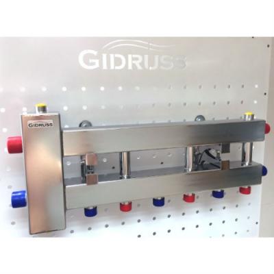 """Коллектор с гидрострелкой """"компакт"""" GidrussBMKSS-60-4D из нержавеющей стали (до 60 кВт, G 1'' НР, 4 контура: 3 вниз, 1 в сторону 3/4"""" НР, Межосевое расстояние 90 мм)"""
