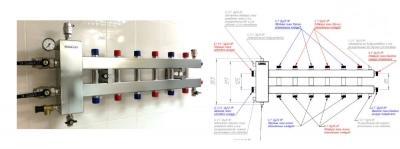 Коллектор отопления с гидрострелкой Gidruss BMSS-100-7DU из нержавеющей стали (100 кВт, 7 контуров G 1'' НР, вход G 1 1/4'' НР Межосевое расстояние 125 мм)