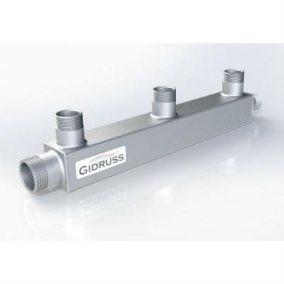 Распределительный коллектор на 3 контура Gidruss DMSS-20-15x3 из нержавеющей стали