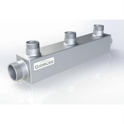 Распределительный коллектор на 3 контура Gidruss DM-25-20x3 из конструкционной стали
