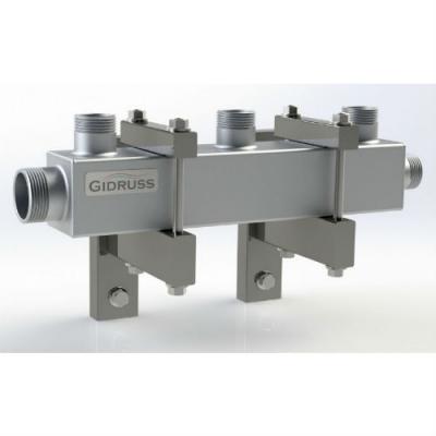 Распределительный коллектор на 3 контура Gidruss DM-32-25x3 из конструкционной стали