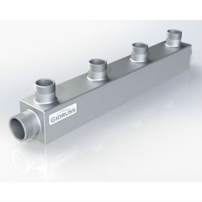 Распределительный коллектор на 4 контура Gidruss DM-20-15x4 из конструкционной стали