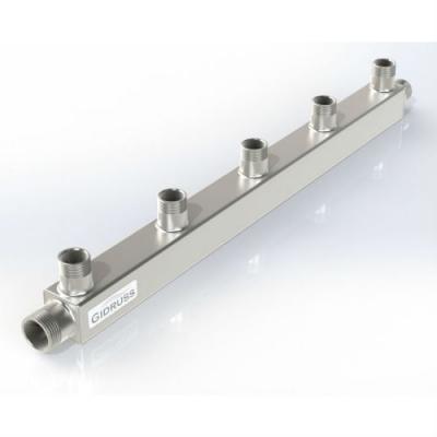 Распределительный коллектор на 5 контуров Gidruss DMSS-25-20x5 из нержавеющей стали