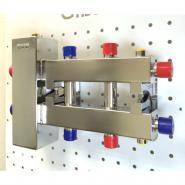КоллектоACр отопления с гидрострелкой GidrussBMSS-100-3DU из нержавеющей стали  (до 100 кВт, 3 контура G 1'' НР, вход G 1 1/4'' НР Межосевое расстояние 125 мм)