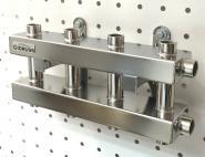 Модульный коллектор отопления на 5 контуров Gidruss MKSS-60-5DU для гидрострелки до 60, до 100 кВт из нержавеющей стали