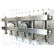 Модульный коллектор отопления 4 контура Gidruss MKSS-60-4D для гидрострелки до 60, до 100 кВт из нержавеющей стали
