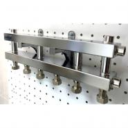 Модульный коллектор отопления на 4 контура Gidruss MKSS-40-4D для гидрострелки до 40 кВт из нержавеющей стали