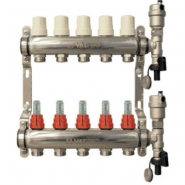 """Коллектор теплого пола Valtec 1"""" 6x3/4"""" из нержавеющей стали с термостатическими клапанами и расходомерами"""
