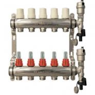 """Коллектор теплого пола Valtec 1"""" 7x3/4"""" из нержавеющей стали с термостатическими клапанами и расходомерами"""