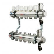 """Коллектор теплого пола Valtec 1"""" 5x3/4"""" из латуни с балансировочными и термостатическими клапанами"""