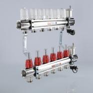 """Коллектор теплого пола Valtec 1 1/4"""", 8x3/4"""" из латуни с термостатическими клапанами и расходомерами"""