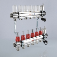 """Коллектор теплого пола Valtec 1 1/4"""", 11x3/4"""" из латуни с термостатическими клапанами и расходомерами"""
